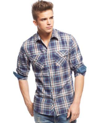 GUESS Broadway Plaid Shirt - Casual Button-Down Shirts - Men - Macy's