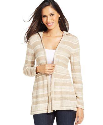 Style&co. Petite Striped Hooded Cardigan - Sweaters - Women - Macy's