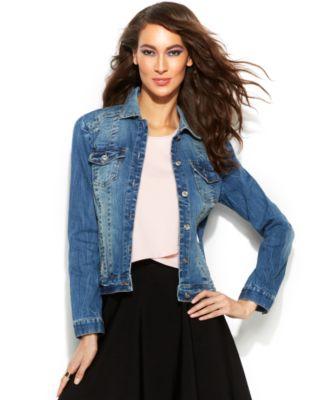 INC International Concepts Distressed Denim Jacket - Women's ...