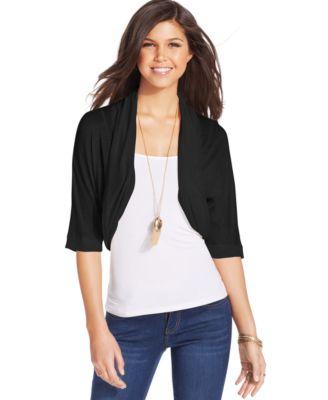 BCX Juniors Sweater, Long Sleeve Open-Front Drape-Front Cardigan ...