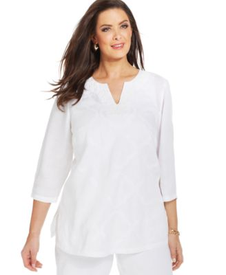 Charter Club Plus Size Linen Embroidered Beaded Tunic - Tops ...