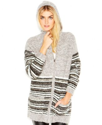 Sanctuary Long-Sleeve Intarsia-Knit Hooded Sweater - Sweaters ...
