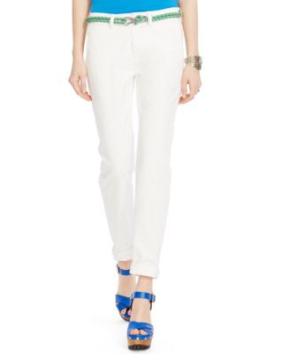 womens white khaki pants - Pi Pants