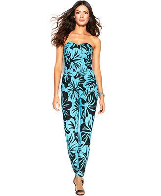 MICHAEL Michael Kors Strapless Floral-Print Jumpsuit
