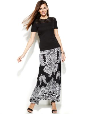 INC International Concepts Petite Queen Of Hearts Maxi Skirt ...