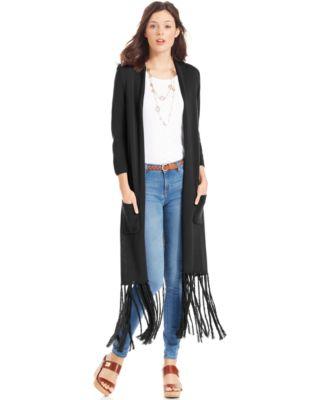 NY Collection Plus Size Sleeveless Fringed Duster Cardigan ...
