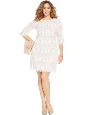 Alfani Plus Size Three-Quarter-Sleeve Lace Dress - Dresses - Plus ...