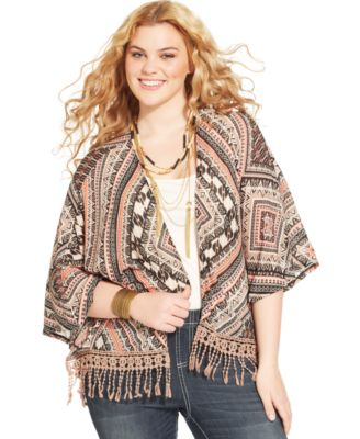 American Rag Plus Size Aztec-Print Kimono Cardigan - Tops - Plus ...