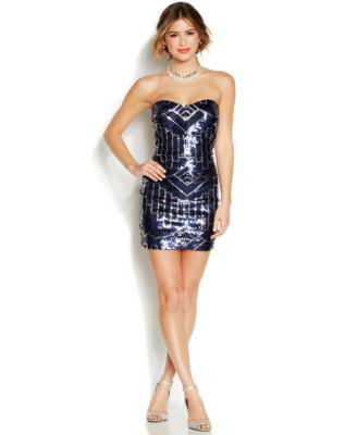 Ruby Rox Juniors' Sequin Strapless Dress - Dresses - Juniors - Macy's