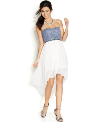 City Studios Juniors' Strapless Lace High-Low Dress - Dresses ...