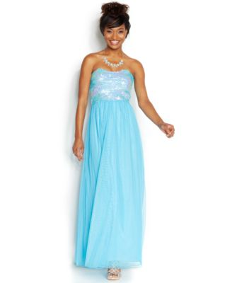 As U Wish Juniors' Strapless Sequin Gown - Dresses - Juniors - Macy's