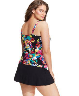 anne cole plus size floral-printed tankini top - swimwear - plus