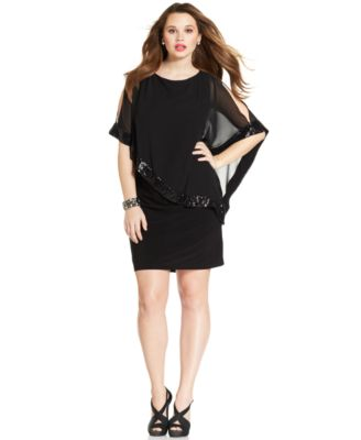 Xscape Plus Size Sequin-Trim Capelet Dress - Dresses - Women - Macy\'s