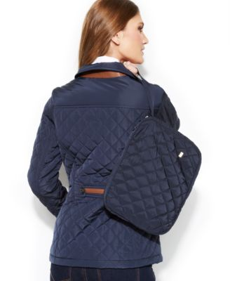 Jones New York Petite Quilted Packable Jacket with Travel Bag ...