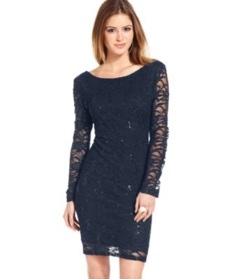 Jump Juniors' Lace Sequin Mini Dress - Dresses - Juniors - Macy's