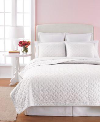 High Quality Martha Stewart Collection White Basket Stitch King Quilt