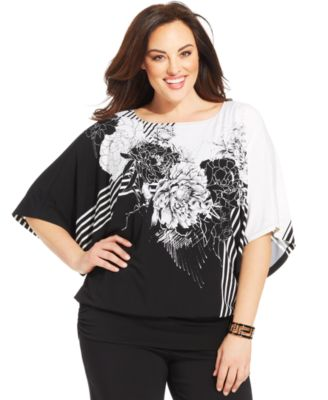 Alfani Plus Size Printed Blouson Top - Plus Sizes - Macy's