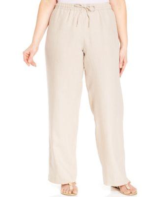 Alfani Plus Size Linen Cropped Wide-Leg Pants - Pants & Capris ...