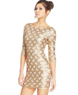 Emerald Sundae Juniors&-39- Rhinestone Peplum Dress - Dresses ...