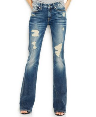 7 For All Mankind Distressed Bootcut Jeans, Grinded Vintage Indigo ...