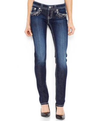 Miss Me Rhinestone Flap-Pocket Skinny Jeans, Medium Blue Wash ...