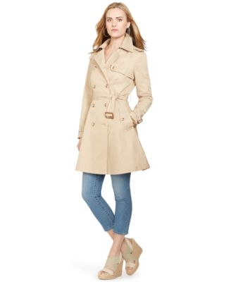 Lauren Ralph Lauren Petite Double-Breasted Skirted Trench Coat ...