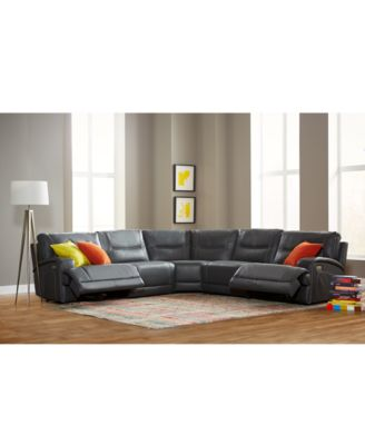 Caruso Leather Power Motion Sectional Sofa Living Room Furniture