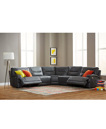 Caruso Leather Power Motion Sectional Sofa Living Room Furniture ...
