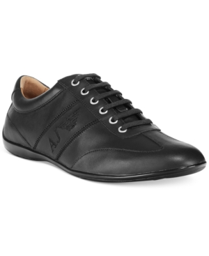 Armani Jeans Low-Profile Leather Sneakers Men's Shoes