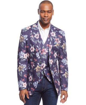 Tallia Floral-Printed Linen Sport Coat - Blazers & Sport Coats ...