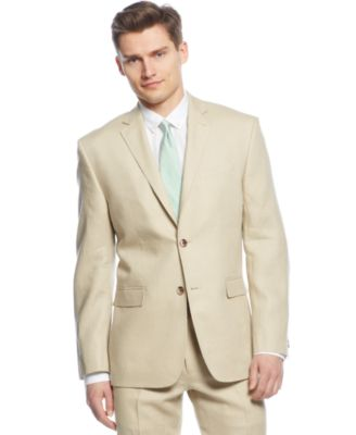 Perry Ellis Tan Solid Linen Slim-Fit Suit - Suits & Suit Separates ...