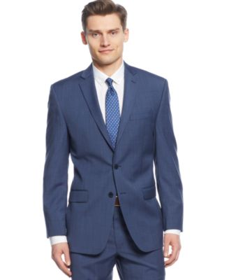 Calvin Klein Medium Blue Texture Slim-Fit Suit - Suits & Suit ...