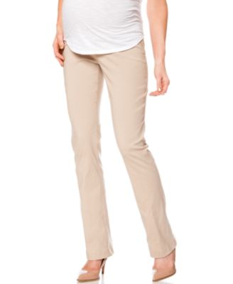 Motherhood Maternity Slim-Leg Twill Pants - Maternity - Women - Macy's