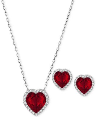 Swarovski cyndi rhodium tone red crystal heart necklace and swarovski cyndi rhodium tone red crystal heart necklace and earring set mozeypictures Choice Image