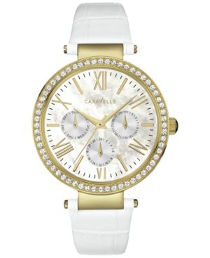 Caravelle New York by Bulova Women's Cream Leather Strap Watch 38mm 44N104