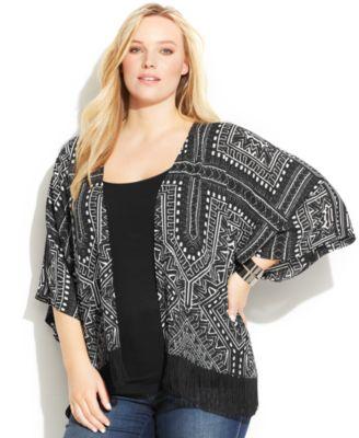 INC International Concepts Plus Size Fringed Printed Kimono ...