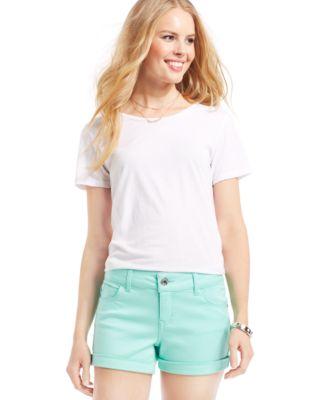 Celebrity Pink Jeans Juniors' Cuffed Denim Shorts- 3