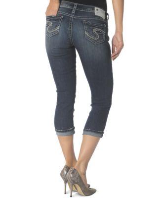 Silver Jeans Suki Dark-Wash Capri Jeans - Jeans - Juniors - Macy's