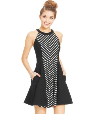 XOXO Juniors\' Chevron-Panel Dress - Dresses - Juniors - Macy\'s