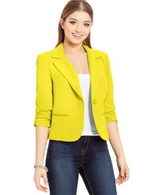 XOXO Juniors' Three-Quarter-Sleeve Blazer - Jackets & Vests ...