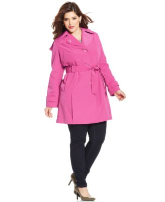 Calvin Klein Plus Size Hooded Layered-Lapel Trench Coat - Coats ...