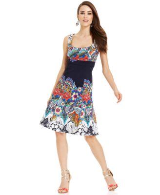 Nine West Paisley-Print Cotton Dress - Dresses - Women - Macy&-39-s