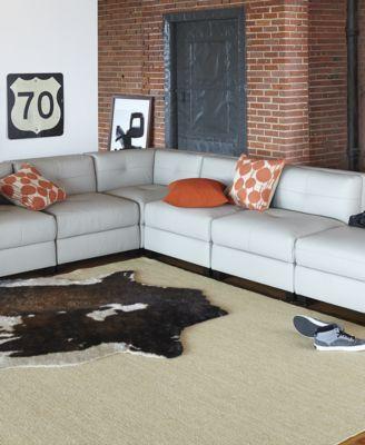 Tristen Leather 5 Piece Modular Sectional Sofa Furniture Macy's