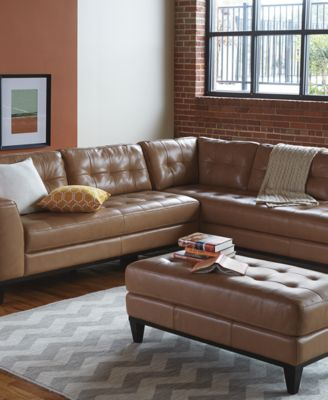 Llario Leather 2 Piece Sectional Sofa Furniture Macy's