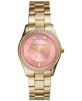 Michael Kors Women's Colette Gold-Tone Stainless Steel Bracelet Watch 34mm MK6143