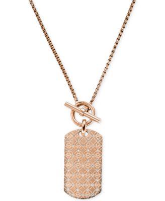 Michael kors rose gold tone dog tag pendant necklace fashion michael kors rose gold tone dog tag pendant necklace aloadofball Choice Image
