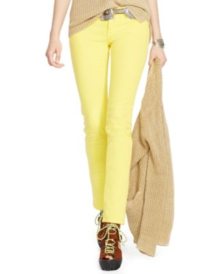 Polo Ralph Lauren Tompkins Cropped Skinny Jeans, Yellow Wash ...