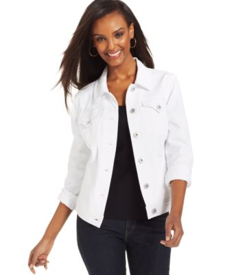 Charter Club Optic White Denim Jacket - Jackets & Blazers - Women ...