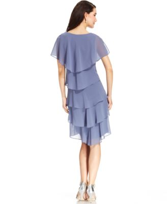 Patra Embellished Tiered Chiffon Dress