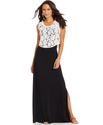 Karen Kane Cropped Lace Maxi Dress - Dresses - Women - Macy's